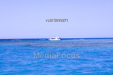 Ship On A Water Background At Sun Light Stock Photo