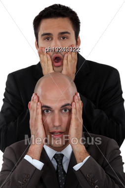 Shocked Business Duo Stock Photo