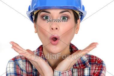 Shocked Female Worker Stock Photo