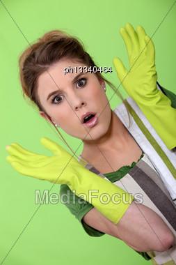 Shocked Houseworker Stock Photo