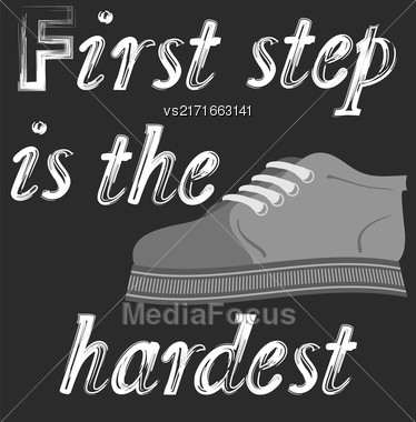 Shoes Banner With Positive Quote On Black Background. Motivation To Action Stock Photo