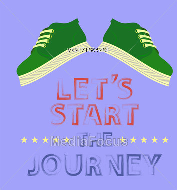 Shoes Banner With Positive Quote On Blue Background. Motivation To Action Stock Photo