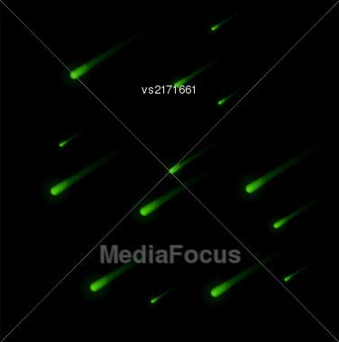 Shooting Green Stars On Nignt Sky. Green Meteor Shower. Meteors Falling Stock Photo