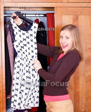 Shopaholic Young Lady With Her New Evening Dress Stock Photo