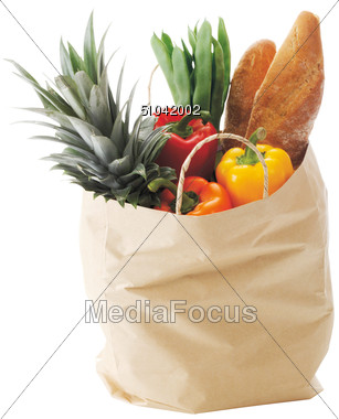 Shopping Bag with Healthy Foods Stock Photo