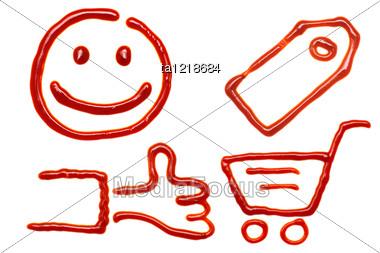Shopping Icons Made Of Ketchup Stock Photo