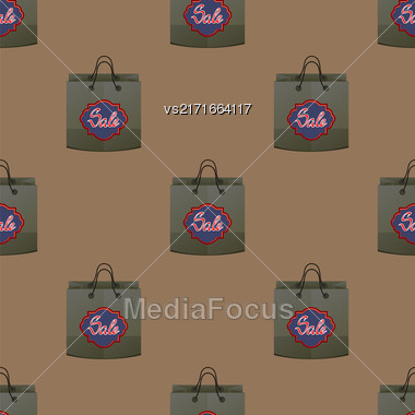 Shopping Paper Bag Seamless Pattern On Brown Background Stock Photo