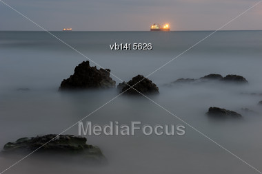 Shore Of The Mediterranean Sea Late In The Evening After Sunset Stock Photo
