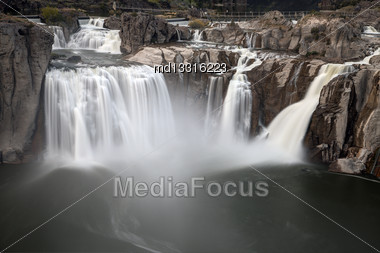 Shoshone Falls Twin Falls, Idaho Blurred Water At Sunset Stock Photo