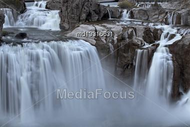 Shoshone Falls Twin Falls, Idaho Blurred Water At Sunset Stock Photo