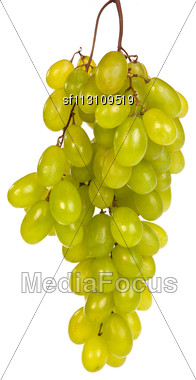 Shot Of A Bunch Of Green Grapes, Laying And Isolated On White Stock Photo