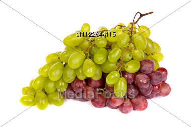 Shot Of A White And Red Grapes Laying And Stock Photo