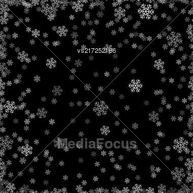 Show Flakes Seamless Pattern On Black Sky Background. Winter Christmas Natural Texture Stock Photo