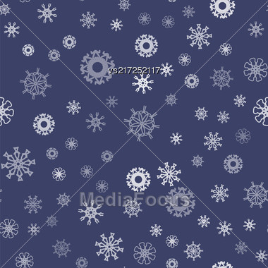 Show Flakes Seamless Pattern On Blue Sky Background. Winter Christmas Natural Texture Stock Photo