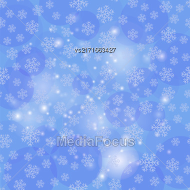 Showflakes Pattern On Blue Sky Background. Winter Christmas Natural Texture Stock Photo