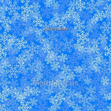 Showflakes Seamless Pattern On Blue Sky Background. Winter Christmas Natural Texture Stock Photo