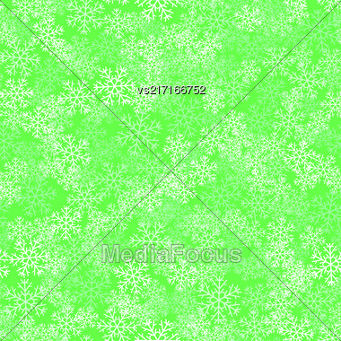 Showflakes Seamless Pattern On Green Background. Winter Christmas Natural Texture Stock Photo