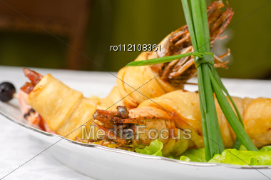 Shrimps, With Lettuce, Green Onion, Lemon And Black Olive Stock Photo