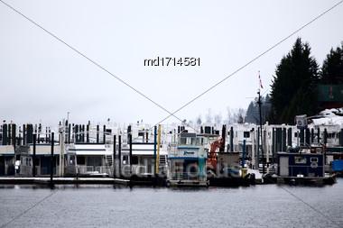 Shuswap Lake Marina Salmon Arm Canada Boats Stock Photo