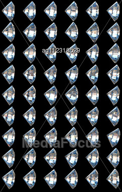 Side Views Of Diamonds With Different Lighting Settings And Reflections Stock Photo