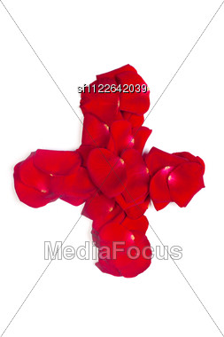 Sign Plus Made From Red Petals Rose Stock Photo