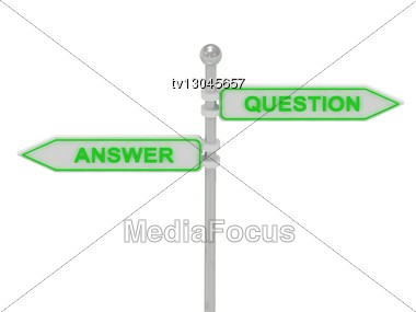 "Signs With Green ""ANSWER"" And ""QUESTION"" Pointing In Opposite Directions, Isolated On White Background, 3d Rendering Stock Photo"