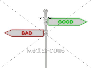 "Signs With Red ""BAD"" And Green ""GOOD"" Pointing In Opposite Directions, Isolated On White Background, 3d Rendering Stock Photo"