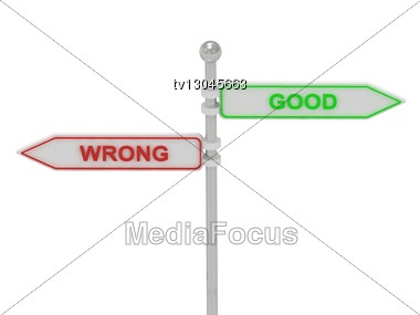 "Signs With Red ""WRONG"" And Green ""GOOD"" Pointing In Opposite Directions, Isolated On White Background, 3d Rendering Stock Photo"