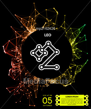 Signs Of The Zodiac In The Form Of Lines, Dots Connected. Vector Illustration Stock Photo