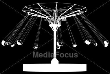 Silhouette Atraktsion Colorful Ferris Wheel. Vector Illustration Stock Photo