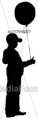 Silhouette Of Boy With Balloon On A White Background. Vector Illustration Stock Photo