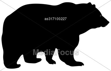 Silhouette Brown Bear On A White Background Stock Photo