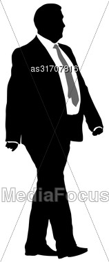 Silhouette Businessman Man In Suit With Tie On A White Background. Vector Illustration Stock Photo