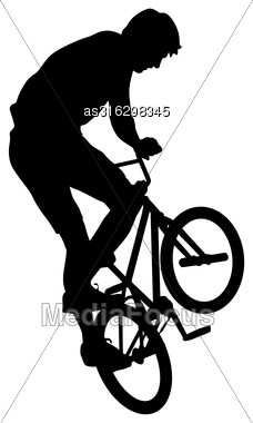 Silhouette Of A Cyclist Male Performing Acrobatic Pirouettes. Vector Illustration Stock Photo