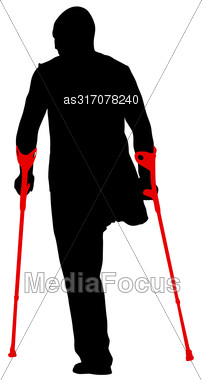 Silhouette Of Disabled People On A White Background. Vector Illustration Stock Photo
