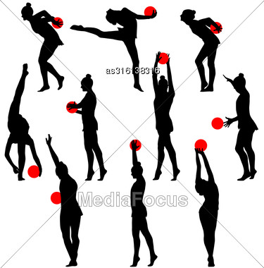 Silhouette Girl Gymnast With The Ball. Vector Illustration Stock Photo