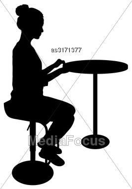 Silhouette Girl Sitting On A Chair White Background Stock Photo