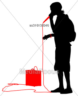 Silhouette Of The Guy Beatbox With A Microphone. Vector Illustration Stock Photo