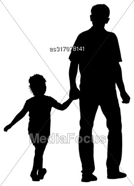 Silhouette Of Happy Family On A White Background Stock Photo