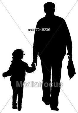 Silhouette Of Happy Family On A White Background. Vector Illustration Stock Photo