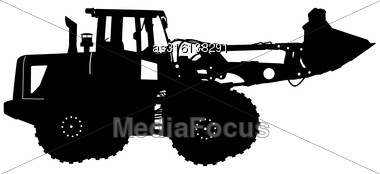 Silhouette Of A Heavy Loaders With Ladle. Vector Illustration Stock Photo
