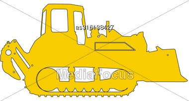 Silhouette Of A Heavy Loaders With A Ladle. Vector Illustration Stock Photo