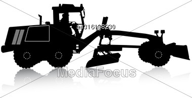 Silhouette Of A Heavy Road Grader. Vector Illustration Stock Photo