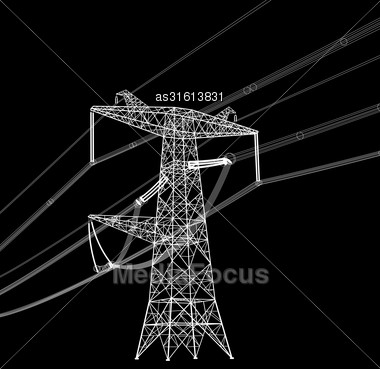 Silhouette Of High Voltage Power Lines. Vector Illustration Stock Photo