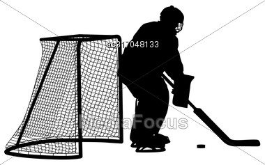 Silhouette Of Hockey Goalkeeper. Isolated On White. Vector Illustrations Stock Photo