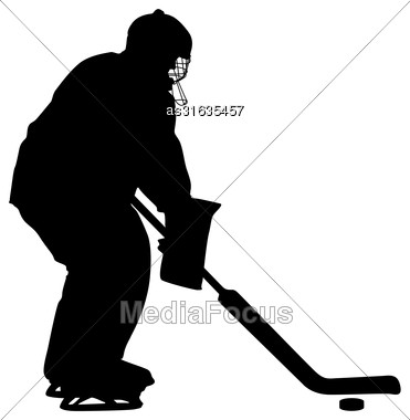 Silhouette Of Hockey Player. Isolated On White. Vector Illustrations Stock Photo