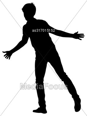 Silhouette Man With Divorced His Hands To The Sides. Vector Illustration Stock Photo