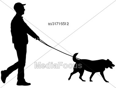 Silhouette Of Man And Dog On A White Background Stock Photo