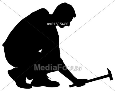 Silhouette Man With Hammer On A White Background, Vector Illustration Stock Photo