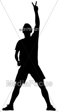 Silhouette Man With His Hand Raised In The Form Of The Letter V. Vector Illustration Stock Photo